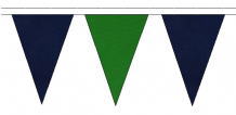 NAVY BLUE AND MID GREEN TRIANGULAR BUNTING - 10m / 20m / 50m LENGTHS